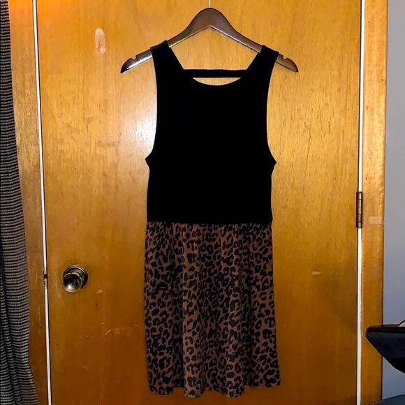 Topshop cotton leopard dress